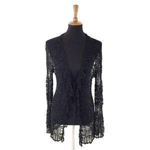 BCBGMaxAzria Black Crochet Duster Size XL