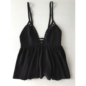 LF Stores Tops - LF Stores Black Party Top