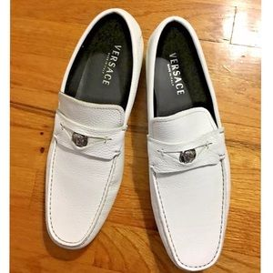 Versace Other - Versace Men's White Loafer Leather Shoes Sz 12