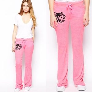 Wildfox Pants - NWT Wildfox neon pink crest sweats.