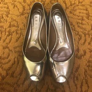 Marni Shoes - Marni silver metallic leather 38 flats open toed