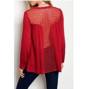 Tops - NWT WINE LACE BUTTON DOWN LONG SLEEVE BLOUSE