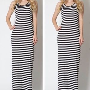 STRIPED BLACK WHITE MAXI DRESS