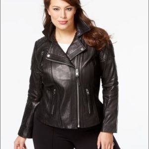 Black Michael Kors leather moto jacket
