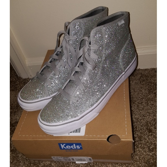 Keds High Top Silver Sparkly Sneakers