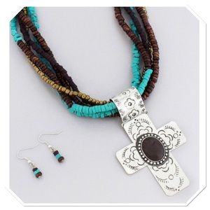 Multi Strand Cross Necklace