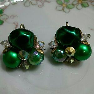 Vintage emerald green cluster earrings