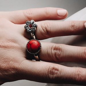 Semi Precious Stone Double Ring