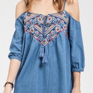BLUPEPPER off the shoulder embroidered dress