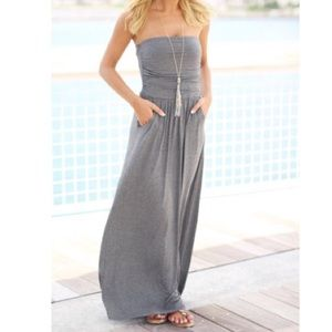 🆕 strapless charcoal maxi dress