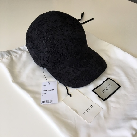 Gucci womens hat baseball cap black Medium 57 cm. M 595246ec680278f67503b7ae d09d09252f