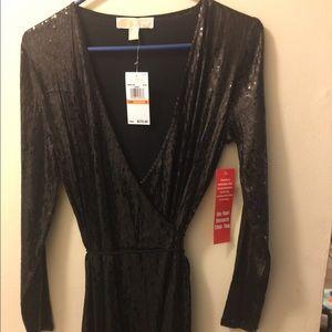 Michaels Kors wrap sequin black dress