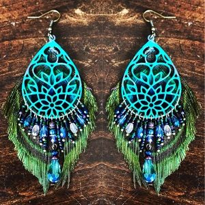 Beaded peacock feather lotus earrings