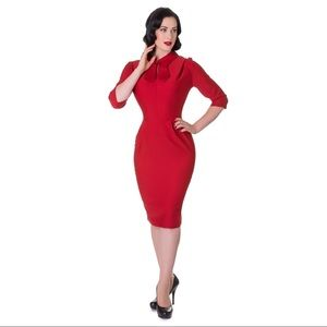 Hell Bunny  1950's Lipstick Red Pinup Pencil Dress
