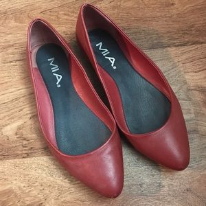 Mia Shoes - MIA Red Pointed Toe Flats