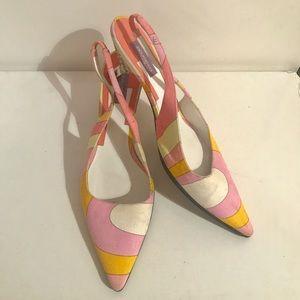 Emilio Pucci Shoes - Emilio Pucci orange pink swirl canvas slingbacks