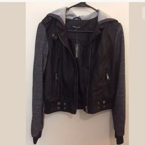 Jackets & Blazers - Ladies small faux leather black bomber jacket NWT