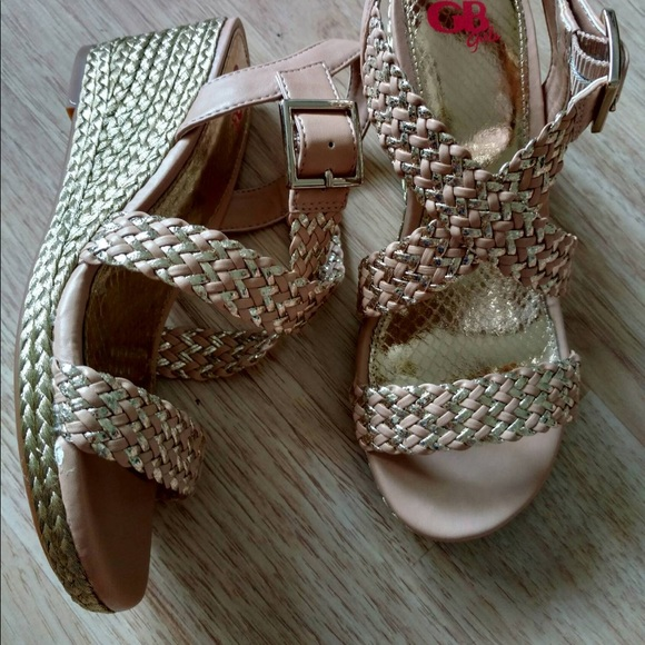 59001052f26 GB Girls Iced Nude Sandal Wedges Shop Girl Sz 3