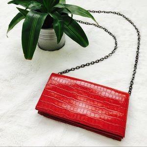 Handbags - Eddie Rodriguez Red Croc Clutch Purse