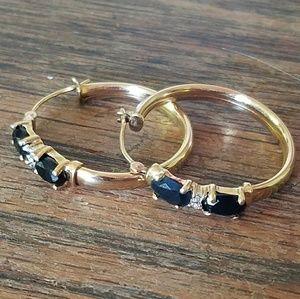 Jewelry - 14 Karat Gold Diamond Sapphire Hoop Earrings