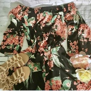 Gray Monroe Autry Black Floral Off Shoulder Romper