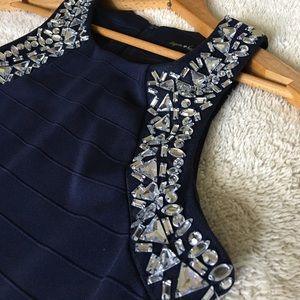 Sequin Hearts Dresses & Skirts - Sequin Hearts Navy Blue Studded Dress