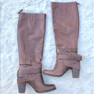 Nine West Brown Tall Leather Boots
