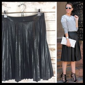 bar III // perforated faux leather pleated skirt