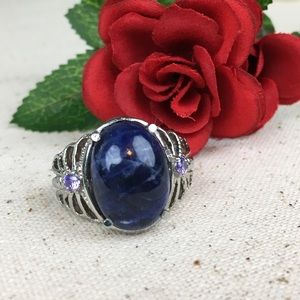 Sodalite With CZ Purple Diamonds Statement Ring