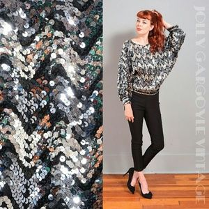 VINTAGE 1970s sequin bathing blouse - one size