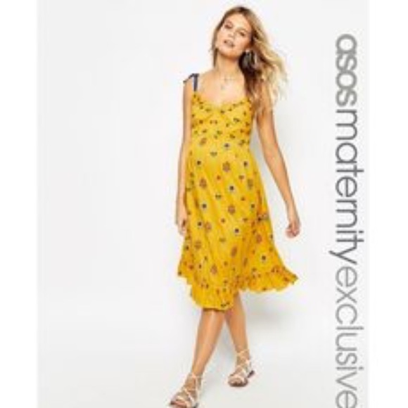 9562cfaa85b62 ASOS Maternity Dresses & Skirts - ASOS Maternity Midi Dress with Floral  Embroidery