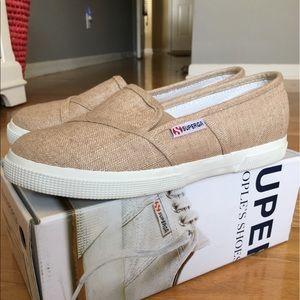 Superga Shoes - Superga Linen Burnt Sienna Slip On Sneakers Sz 7.5