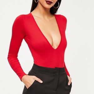 Missguided Tops - Missguided Red long sleeve body suit