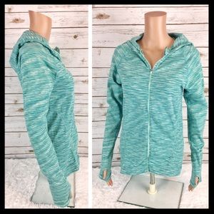 athleta // space dyed zip up workout green hoodie
