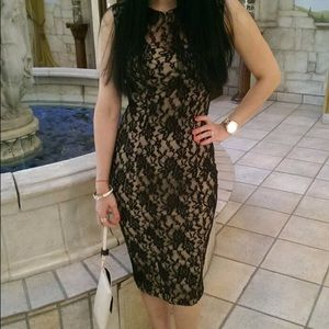 Dresses & Skirts - Hot Miami Styles Black/ Beige lace dress