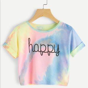 ROMWE Tops - HAPPY Cuffed Crop Top