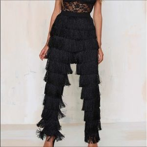Lavish Alice Pants - Lavish Alice black fringe pant