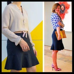 banana republic // sleek flounce navy flare skirt