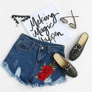 Pants - Floral Embroidered Frayed Jean Shorts