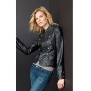 Gallery Vegan Leather Military Style Jacket