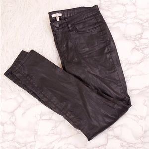 Joie black waxed wet leather look denim jeans