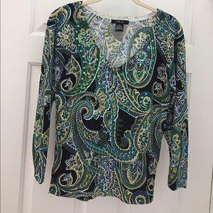 Sequined 3/4 sleeve top