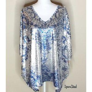 NWT Reba Sequin Mermaid Poncho Style Tunic Top L