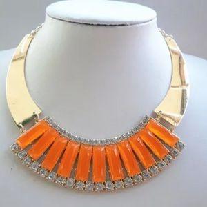 Orange & Gold statement piece necklace