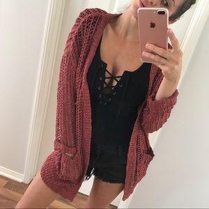 Sweaters - Last Item • Marsala Knitted Cardigan