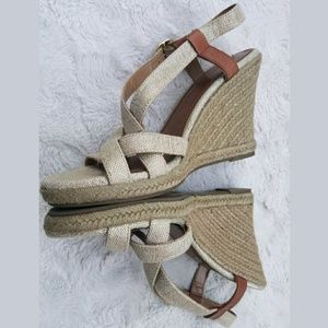 Banana republic espadrille wedge gold strappy sand
