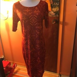 Orange/rust Tribal pattern Julia dress Lularoe