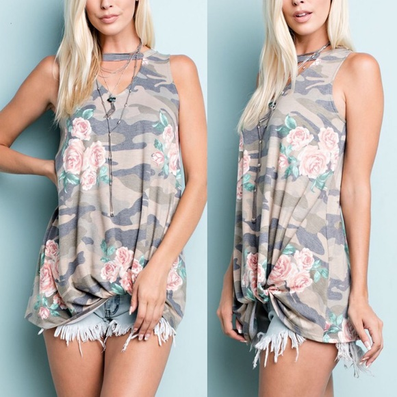 Bellanblue Tops - 1 HR SALE RANDIE Floral Knotted Top - OLIVE
