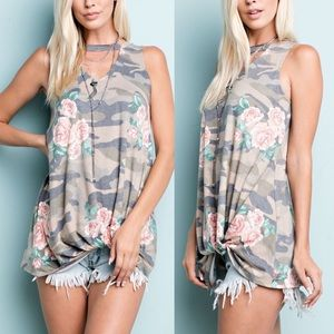 1 HR SALE RANDIE Floral Knotted Top - OLIVE