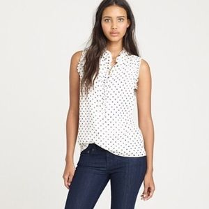 J. Crew Ruffled Polka Dot Sleeveless Blouse